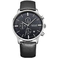 MEGIR Men's 3ATM Water Resistant Luxury Wristwatch Leather Strap Noctilucent Quartz Watch with Calendar