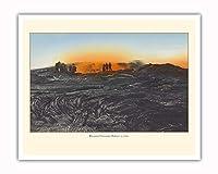 キラウエア火山 - ビンテージなハワイの手で色彩されたポストカード c.1930 - アートポスター - 41cm x 51cm