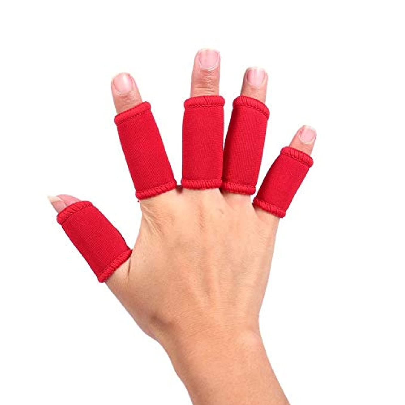 劇場発明コンテスト指の損傷のサポート、指のプロテクター5個のサポートスポーツの指のサポートスプリントプロテクター親指のサポートプロテクター,Red