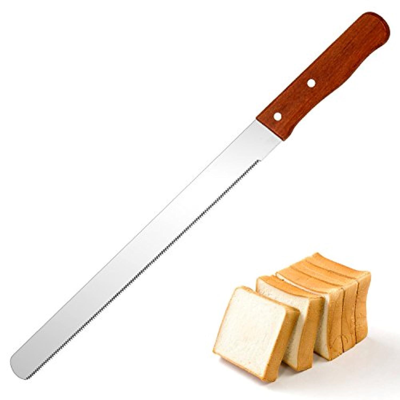 VKINGパン切りナイフ パン切り包丁 パン用ナイフ ブレッドナイフ 切れ味抜群 波刃 刃渡り23cm ステンレス 一体化 食洗機対応 パン屋用 業務用 家庭用 (木)