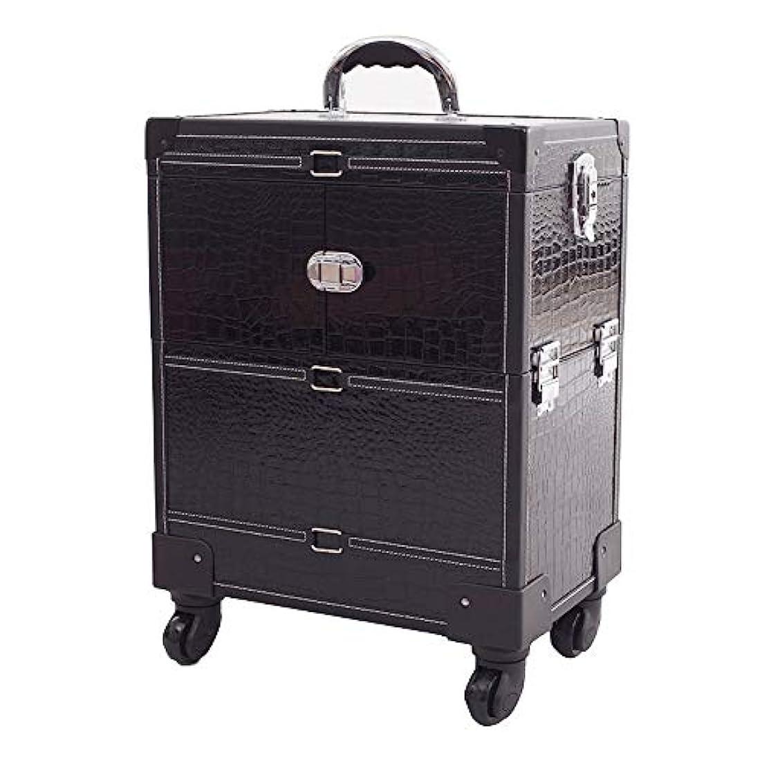 折り目慢コマースYWAWJ 旅行ボックス4ホイール美容ブラッククロコダイル柄ローリングメイクアップアーティストケースロック可能なトロリー化粧品オーガナイザー