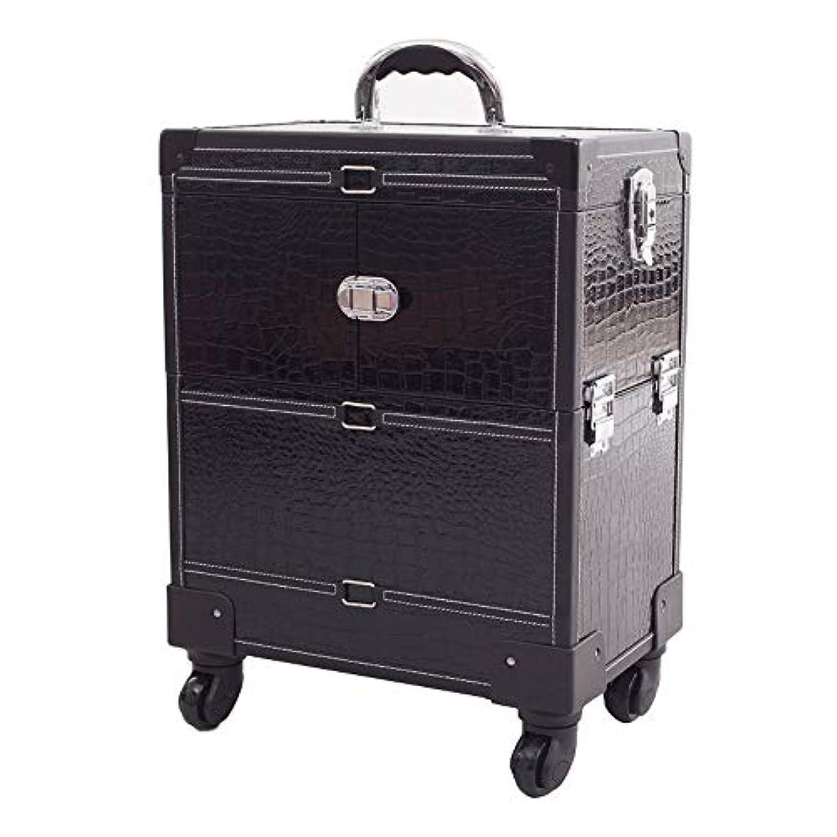 そしてもろい命令YWAWJ 旅行ボックス4ホイール美容ブラッククロコダイル柄ローリングメイクアップアーティストケースロック可能なトロリー化粧品オーガナイザー