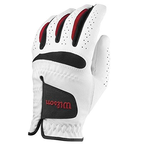 Wilson Feel Plus Left-Hand Golf Glove, Men, White, Medium