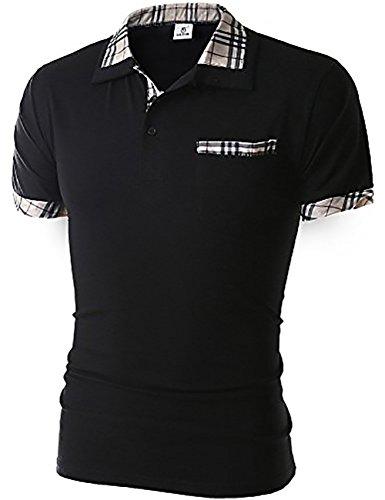 グラストア(Glestore)メンズ 半袖 ポロシャツ 半袖 お洒落な重ね着スタイル チェックポロシャツ カジュアル シンプル 無地 スキニー ファッション カッコイイ スポーツウェア ゴルフウェア 快適 多色選択 M-XXL (M, 【タイプ1】ブラック)