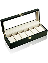 EASEASE 腕時計収納ケース 木製高級 腕時計 収納 ボックス 時計 展示ボックス ウォッチ ガラス天板 コレクションケース 6本用 (ブラック)