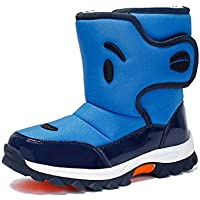 Kids Boys Girls Winter Fur Lined Boots Waterproof Outdoor Hiking Warm Shoes,Comfortable and Warm