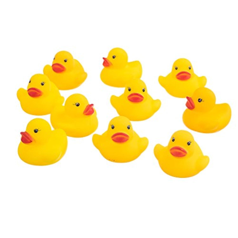 Fenteer ラバー ベビー バスタイム アヒル形 黄色  贈り物 10個入り おもちゃ 高品質