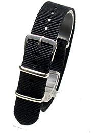 ノーブランド品 ベルト NATOタイプ 黒 ( ブラック : 20mm )ナイロン ストラップ 替え バンド 腕時計