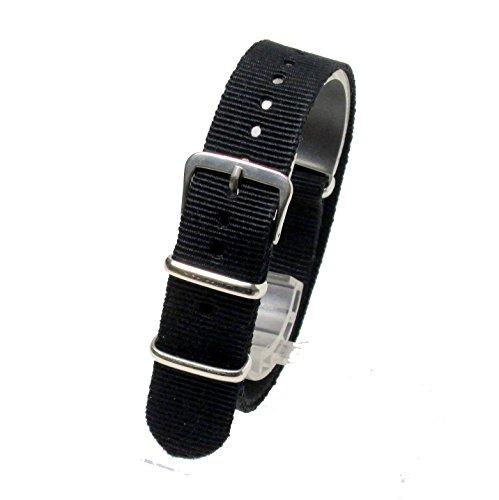 [해외]노 브랜드 제품 NATO 타입 나일론 스트랩 방식 밴드 검정 (Black : 18mm) 시계 벨트/No brand name NATO type nylon strap replacement band black (black: 18 mm) watch belt