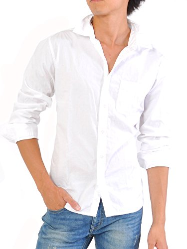 (スペイド) SPADE シャツ メンズ 長袖 綿100% ブロード Yシャツ カッターシャツ 【e380】 (L, ホワイト)