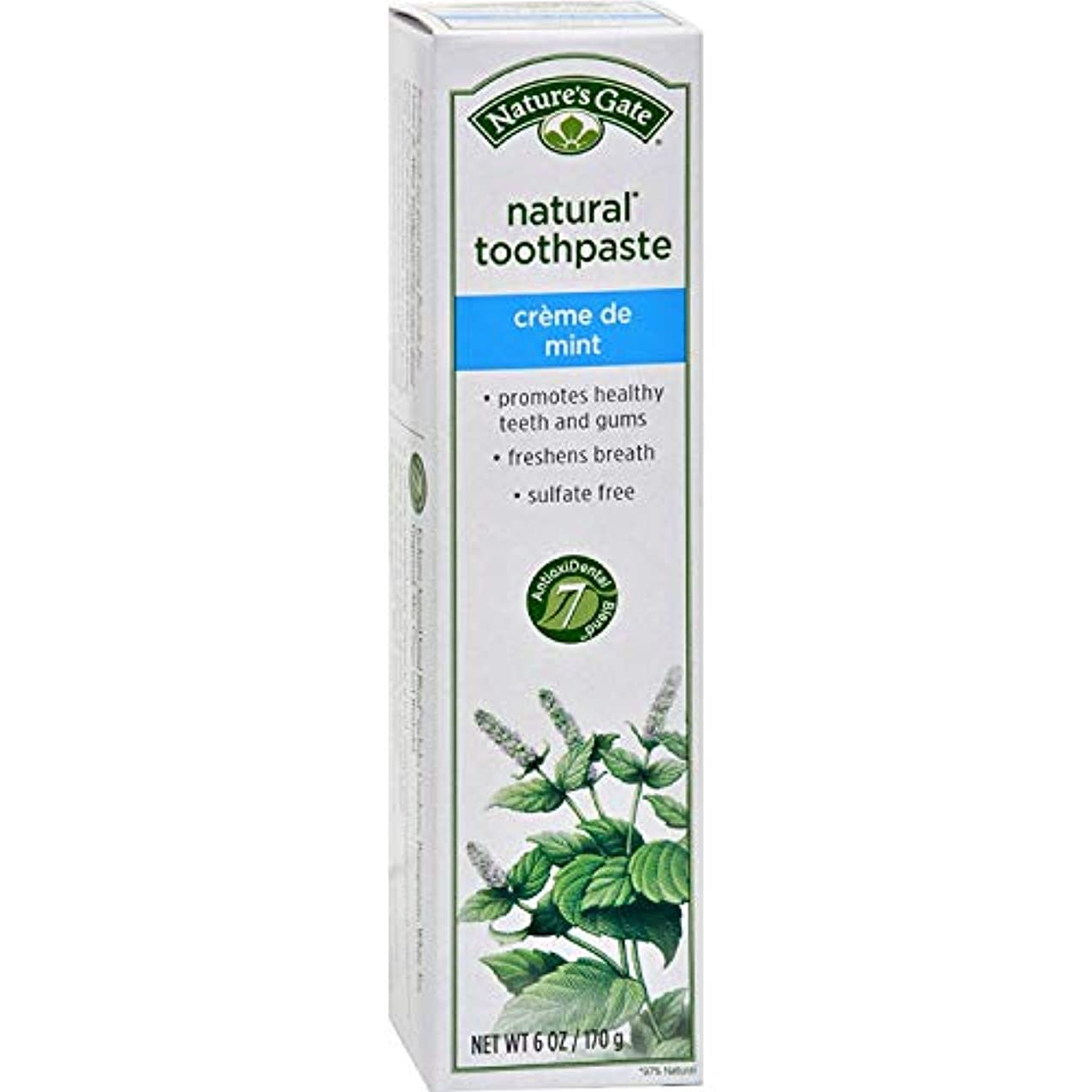 ブローホール少数原子炉Nature's Gate, Natural Toothpaste, Creme de Mint, 6 oz (170 g)