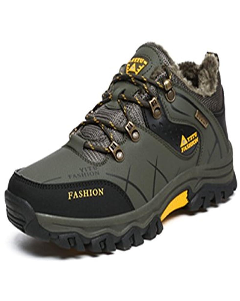 連結する崩壊自動トレッキングシューズ 登山靴 メンズ  ハイキングシューズ 防水 防滑 ウォーキングシューズ アウトドア トラベル ハイカット キャンプ シューズ 暖かい靴 大きいサイズ クッション性/通気性  グリン裏起毛 26.5CM