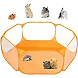 Small Animals C&C Cage Tent, Breathable & Transparent Pet Playpen Pop Open Outdoor/Indoor Exercise Fence, Portable Yard Fence for Guinea Pig, Rabbits, Hamster, Chinchillas and Hedgehogs (Orange)