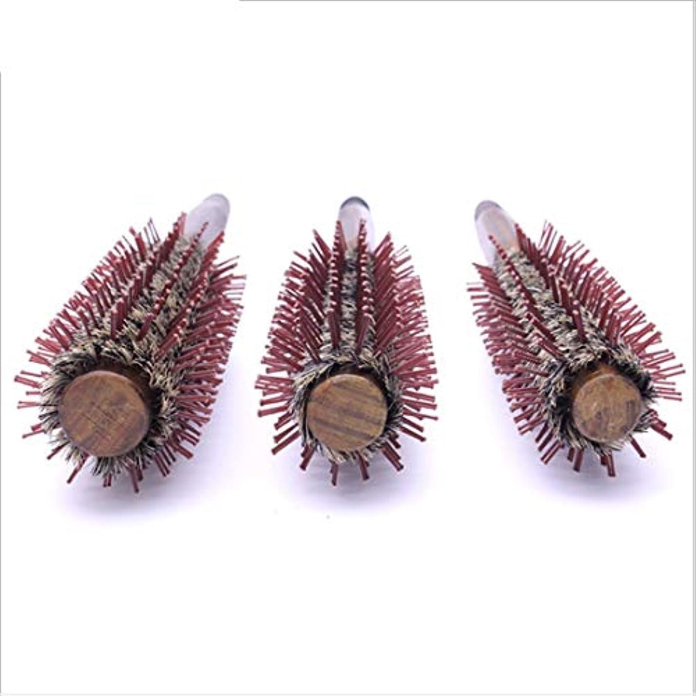 スカリー前方へミリメートル木のハンドルが付いている自然なイノシシの剛毛の円形のヘア?ブラシ、円形の櫛の直線11インチの長さ、毛の乾燥のためのスタイリングの基本、スタイリング モデリングツール (サイズ : L)