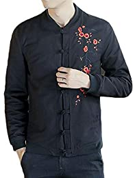 Fly Year-JP メンズ中国スタイル固体刺繍カエルボタンコートジャケット