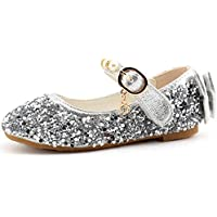 CCTWINS KIDS Fashion Girls Sparkly Dress Shoes,Adorable Kids Party Heels Pumps,Glitter Princess Mary Jane Shoes