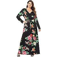 Floerns Women's Plus Size V Neck Long Sleeve Belted Floral Maxi Wrap Dress