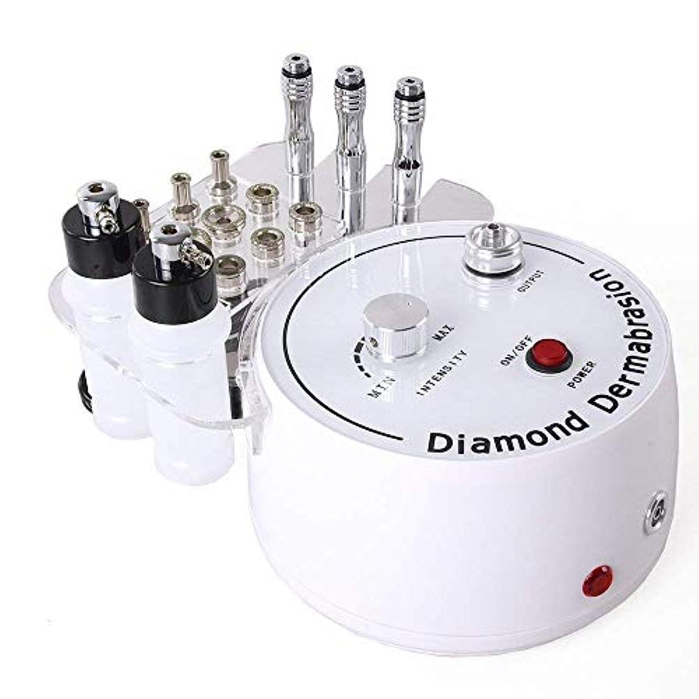リゾートダンスアサー3 in 1ダイヤモンドマイクロダーマブレーションマシン、プロフェッショナルダイヤモンドダーマブレーションマシンパーソナルケア用のフェイシャルケアサロン機器、チップとワンド付き