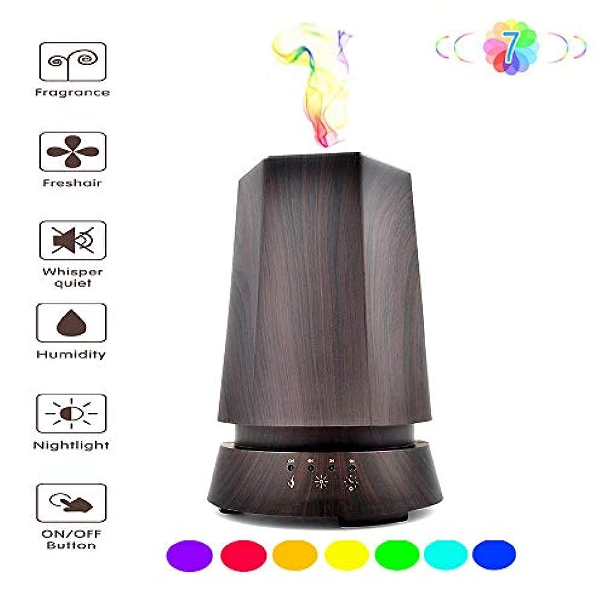 伸ばす今まで新しい意味350MLエッセンシャルオイルディフューザー - LEDナイトライト - 超音波アロマ加湿器 - LED7色ライト付き - いいえ水自動閉鎖
