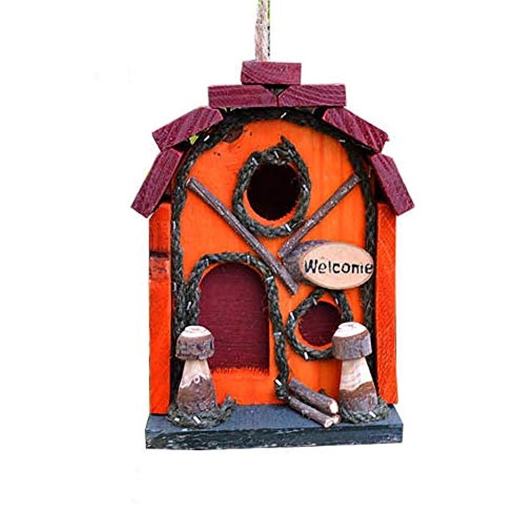 貝殻愛情深い情緒的野鳥用巣箱 レトロな美術工芸カントリーコテージバードハウス、ウッドランドキャビン巣箱屋外装飾およびインテリア木造住宅のインテリア 鳥の巣 巣箱 (Color : Red, Size : 14x18CM)