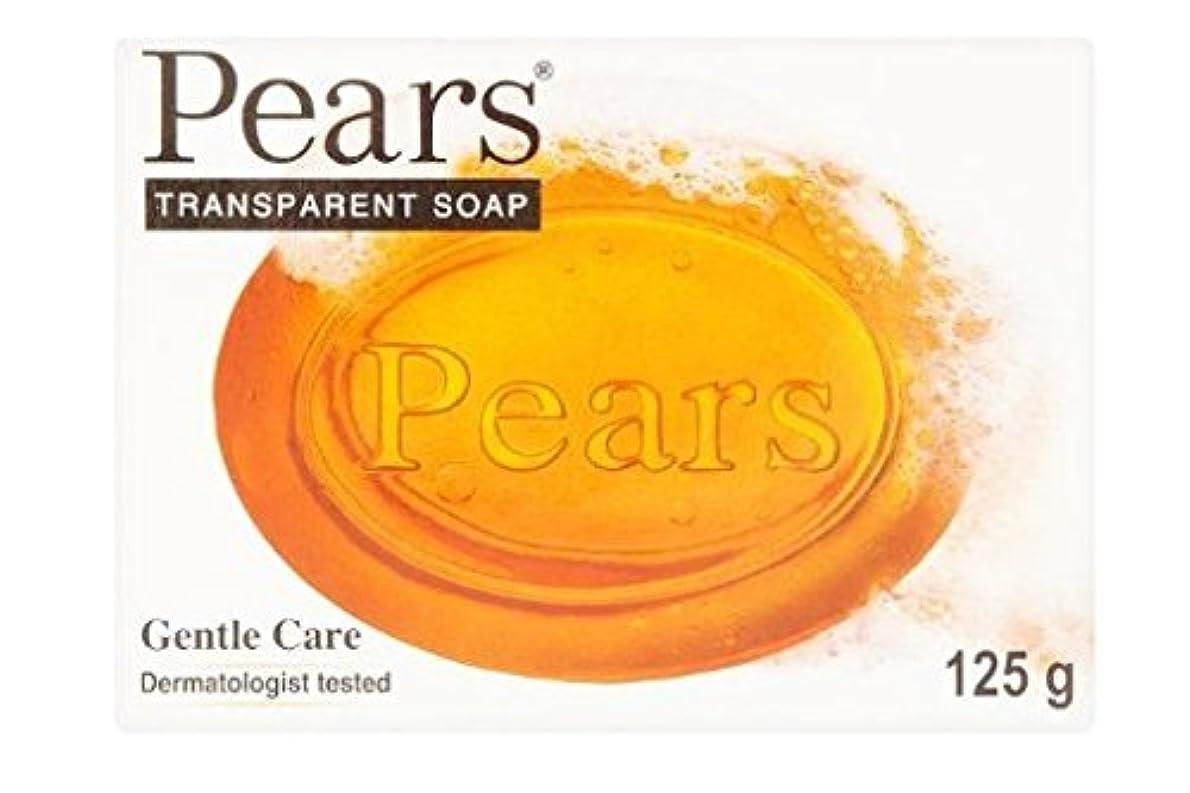 スポンジ吸収ミニチュアPears Transparent Soap (orange) (125g) 梨透明石鹸(オレンジ) ( 125グラム)
