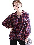 [ゴールドジャパン] 大きいサイズ レディース チェック 柄 ヘムタック ネルシャツ トップス 長袖 スキッパー