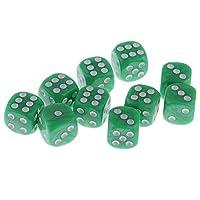 Fenteer 10個 プラスチック 6面ダイス 多面ダイス 賽子 デジタル骰子 D&D MTG RPGゲーム用 アクセサリー 全10色 - グリーン