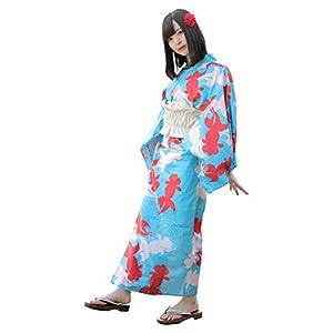 BIBILAB(ビビラボ) らく浴衣 金魚 Mサイズ かんたん着付け&動きやすい 一人で着れる浴衣 WCL-M-BU