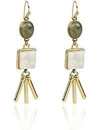 Danielle Nicole gold tone earring with Labradorite and Spot Kambaba stone.