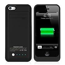 iSHAKO iPhone 5/5S/SE バッテリーケース 急速充電 2200 mAh ケース型バッテリー 120%容量追加(ブラック)