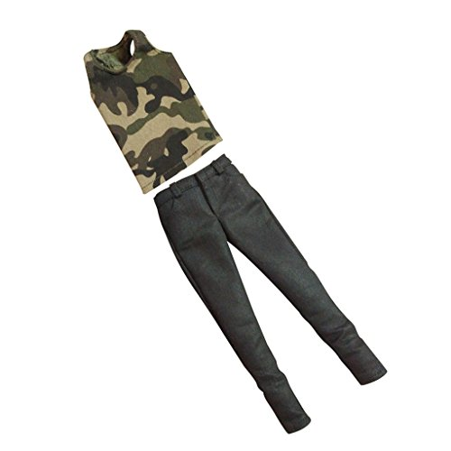 Lovoski 1/6ケール メンズ ファッション ノースリーブ 迷彩 ベスト ジーンズ 12 インチ男性フィギュア人形、ドール適用