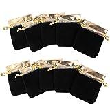 【ノーブランド品】ベルベット製 ジュエリーポーチ 巾着袋 ギフトバッグ  (ゴールド&ブラック) 10枚