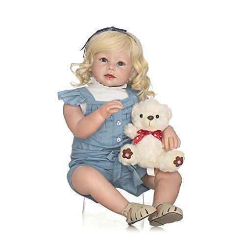 Decdeal シリコン リボーン 人形 ロングストレート ゴールデン髪 服付き かわいい ギフト...