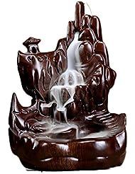 芳香器?アロマバーナー 逆流の香り現代中国の香炉仏の部屋の香炉の黒檀の木材香の香炉アロマセラピー炉 アロマバーナー (Color : Black and ebony)