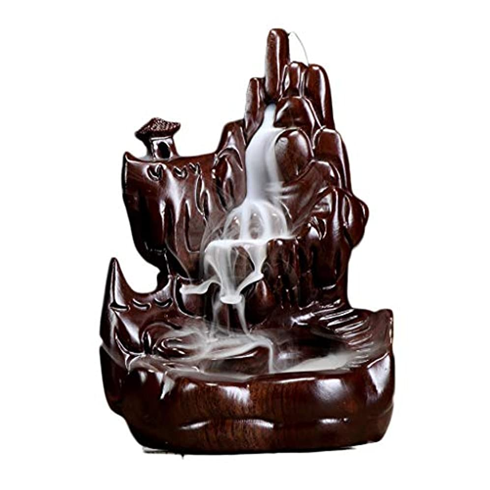 池ミシン沈黙ホームアロマバーナー 逆流の香り現代中国の香炉仏の部屋の香炉の黒檀の木材香の香炉アロマセラピー炉 アロマバーナー (Color : Black and ebony)