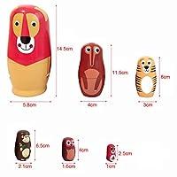SONONIA 6個 2セット 木製 動物 入れ子人形 マトリョーシカ 手描き 贈り物 (多彩)