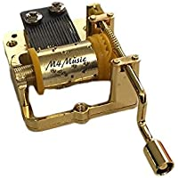 m4music 18ノートゴールドメタルハンドクランクの動きDIYワインドアップミュージックボックス音楽ボックス