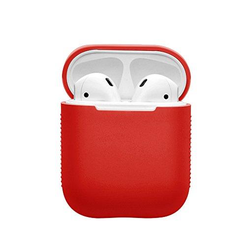 Kartice AirPods専用ケースカバー シリコン保護カバー 収納ケース 傷防止 耐衝撃 AppleワイヤレスイヤホンAirPods対応 (レッド)