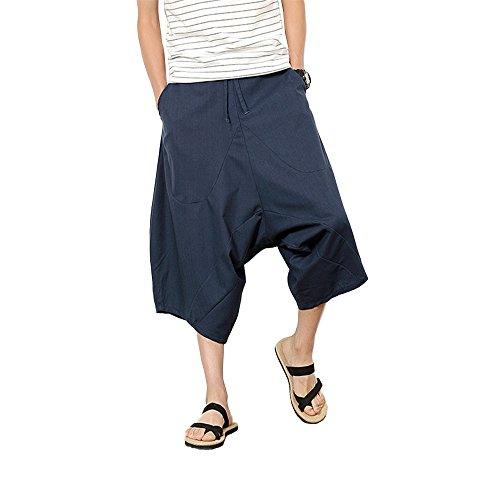 Victory Man(ビクトリー メンズ)ワイドパンツ メンズ サルエルパンツ 袴パンツ スウェット 涼しい サルエル ダンス ファッション 七分丈 メンズもレディースも エスニック 衣装 アラジンパンツ ヒップホップ カジュアル 夏 無地 切り替え