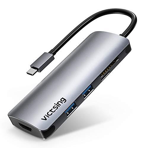 USB C ハブ Type Cハブ 6in1 USB Type-c Hub HDMI出力 PD給電 USB3.0 ハブ SDカードリーダー Micro SDカードリーダ タイプC 変換 アダプタChromeBook等に対応