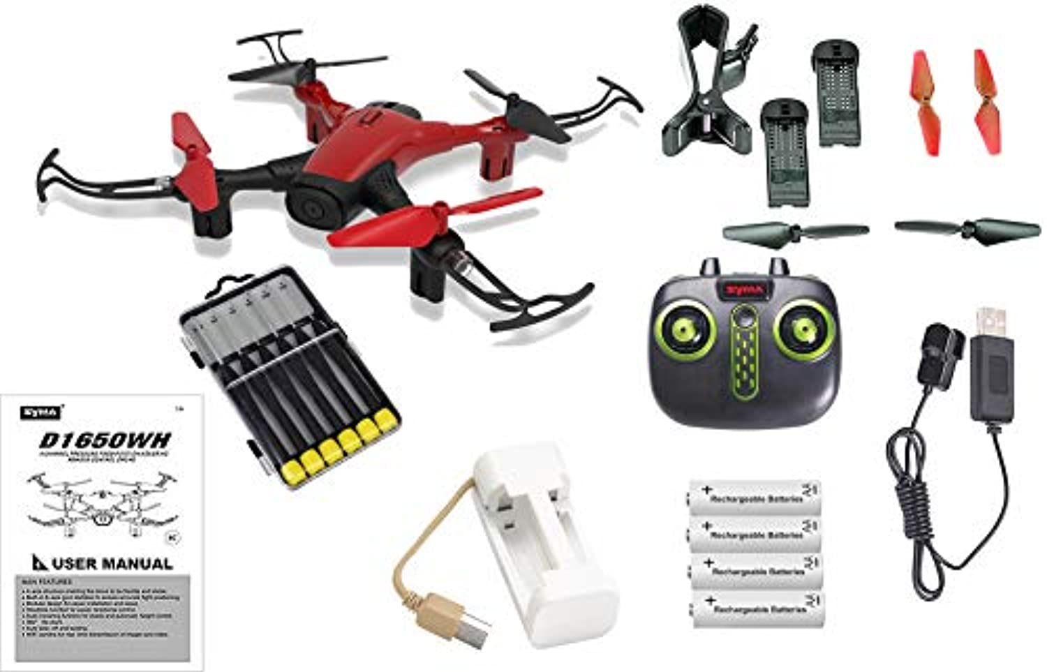 Red Sky Phantom WiFi FPV Drone with HD Camera Live Feed 2.4GHz 4CH Bundle with Must Have Accessories - 23pcs Set