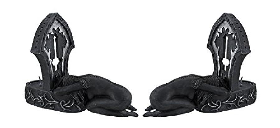 落とし穴ピクニックをする膿瘍Zeckos 2つの追悼ヌード悪魔女ティーライトキャンドルホルダーのセット ワンサイズ ブラック