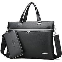 RESPEEDIME Men's Genuine Leather Handbag Shoulderbag Soft PU Purse Classic 2 sets