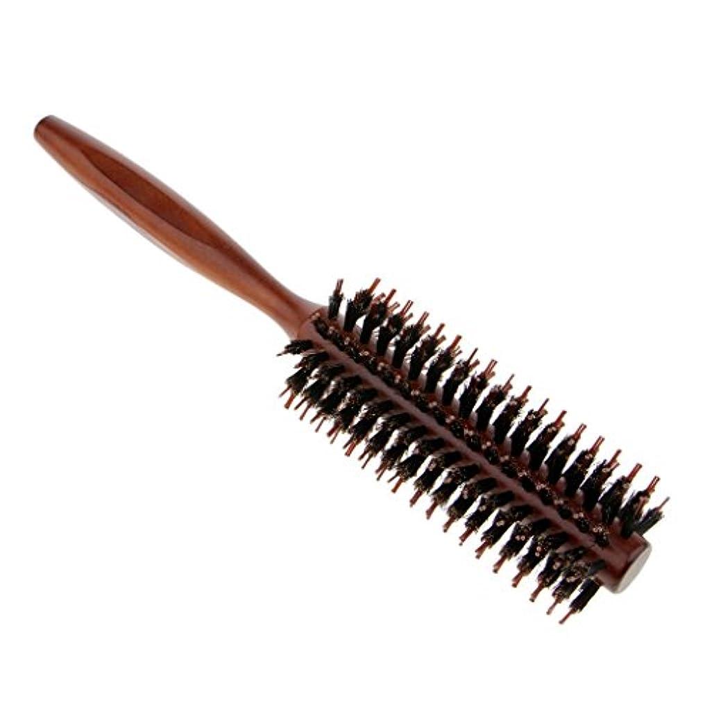 損なう優先スケッチラウンドヘアブラシ 木製ハンドル 丸い 櫛 自然な毛 整髪 ヘアブラシ 2タイプ選べ - #1