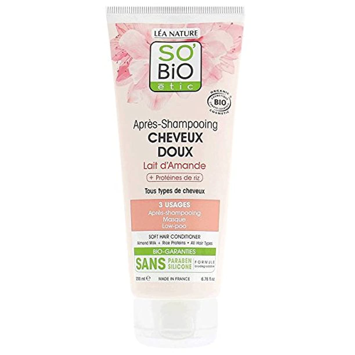 静的不格好杖SO 'BIO ETIC - アーモンドミルク&ライスプロテイン入りコンディショナー - すべての髪のタイプに適しています - 保湿 - 髪の扱いやすさを改善します - パラベン&シリコンから無料 - 200 ml