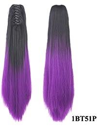 009 ポニーテールクリップグラデーションロングストレートヘアウィッグポニーテールウィッグ女性用 (Color : 1BT51P)