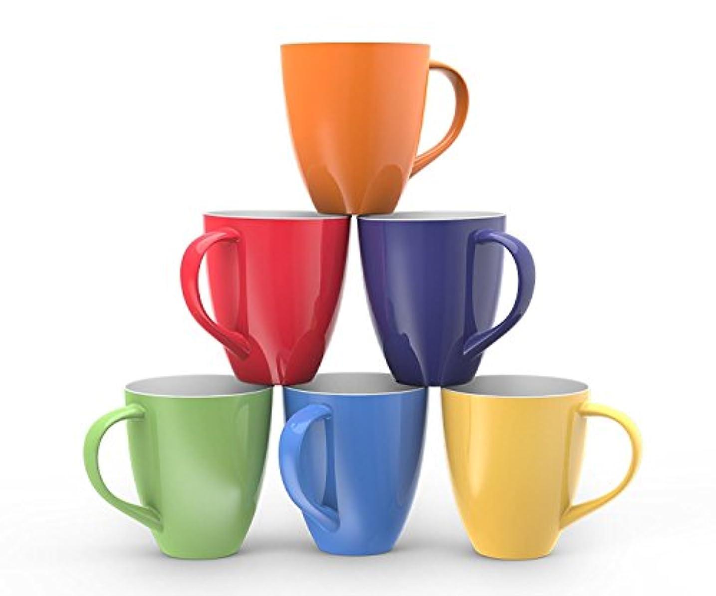 感謝する真珠のような忠実なFrancois et Mimi Set of 6 Large-sized 16 Ounce Ceramic Coffee Mugs (Solid Colorful) by Francois et Mimi