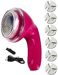 Wei Zhe- ファブリックシェーバー - リントリムーバー衣類シェーバー6ブレードとフリース服のポータブル充電式ボブファブリックシェーバー 携帯用かみそり (色 : ピンク)