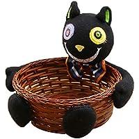 FLAMEER ハロウィン 籐 収納バスケット コンテナ オーガナイザー キャンディバスケット   - 黒猫