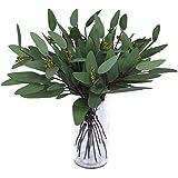 Woooow Artificial Eucalyptus Long Oval Leaf Stem Eucalyptus Spray Artificial Greenery Leaves for Wedding Greenery Holiday Gre